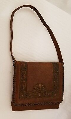 Antique Leather Purse, Arts   Crafts Era, Early 1900 s, Beveled Mirror 140784c251