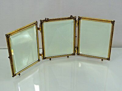 Wonderful Antique French Gilt Dore Beveled Glass Tri Fold Mirror Fine Quality