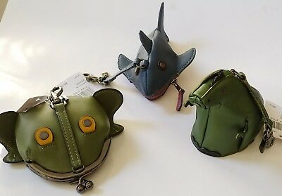 6faafc0b82a8 COACH Zoo Coin Case collection bag Charm green Rexy Frog blue Shark Leather  NWT
