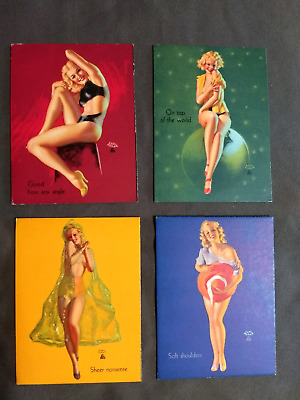 VINTAGE EARL MORAN 1940-1950's PIN-UP/CHEESECAKE INK BLOTTER WITHOUT AD LOT OF 4