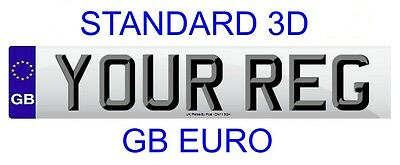Front Standard Number Plate GB Euro STANDARD 3D LETTERS 100% Legal FREE POST