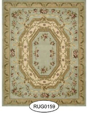 Dollhouse Miniature Small Blue French Aubusson Rug