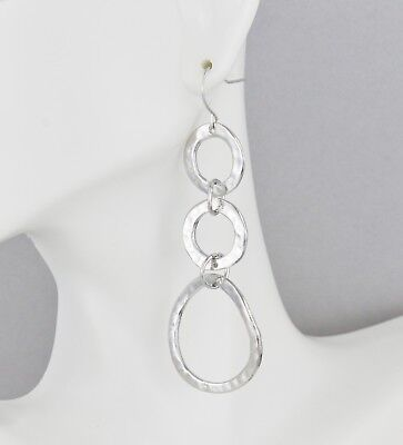 """Silver chain link earrings hammered circles 2 7/8"""" long dangle lightweight"""