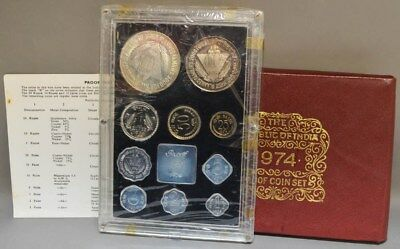 1974 Republic of India 9pc Proof Coin Set in Original Packaging With COA