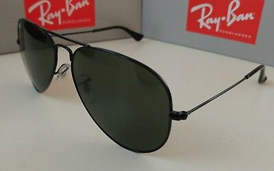 fa352f7fa45 Ray Ban AVIATOR RB3025 L2823 58mm Black Frame  Green G-15 Lenses Authentic  New