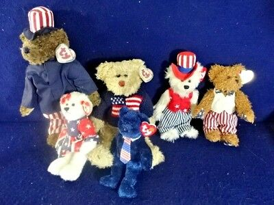 VTG Ty Beanie Babies Patriotic/USA/America 7 Bears Lot - Retired / Rare w/ Tags!