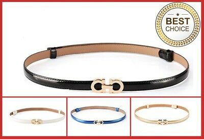 Womens Genuine Leather Thin Waist Belts For Jeans Dress Belt For Womens Pants GG