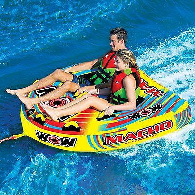 Wow Macho 2 Person Towable Water Ski Tube Inflatable Biscuit Boat Ride