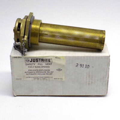 "NEW Justrite 08204 Safety Fill Vent with 6"" Flame Arrester for 2"" Bung Openings"
