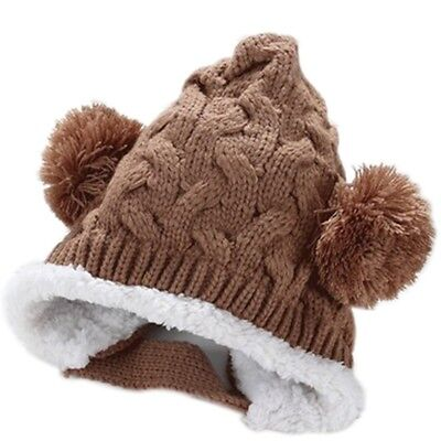 10X( Keep ear warm!Baby Bonbon Pointed Knit cap knit hat Girl boy baby ki T2H6)