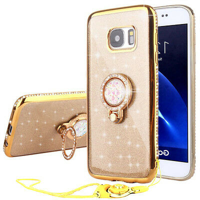Bling Glitter Case Cover + Stand Ring Holder + Lanyard For Samsung S8+ S9+ J3 J7
