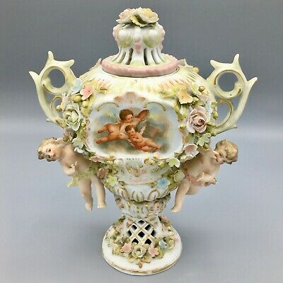 Antique German Sitzendorf Porcelain Voigt Brothers Potpourri Urn Cherubs