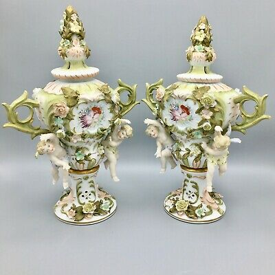 Antique German Sitzendorf Porcelain Voigt Brothers Potpourri Urns Cherubs