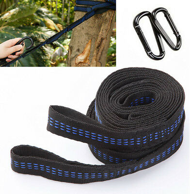 2×Adjustable Tree Hanging Extension Hammock Straps Heavy Duty Suspension+2 Buck
