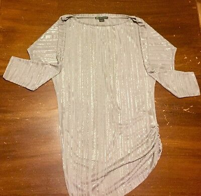 Womens Armani Exchange Silver 3/4 Sleeve Boat Neck Asymmetrical Dress/Top—Size:S