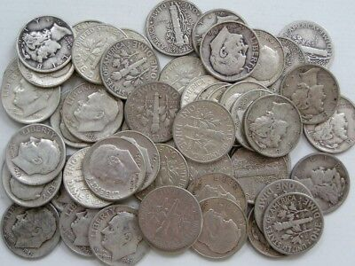 Silver Dimes-Roll of (50)-(10) 40's-(8) 50's-(18) 60's- (2+) S Mints-(12)Mercury