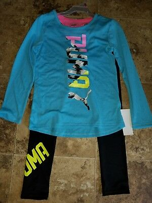 Nwt Girls Puma 2 Piece Outfit Blue Turquoise Pink Black Top Running Leggings 7/8