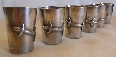 Set Of 6 Antique Chinese Export Sf 900 Silver Liquor Cups W/ Relief Lizard