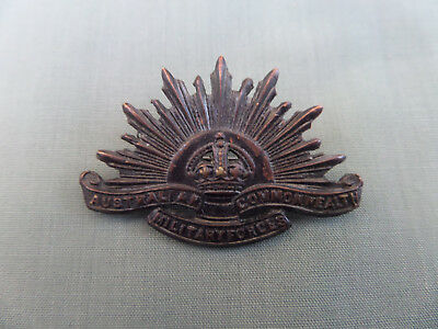 WW1 Era Australian Army Rising Sun Collar Badge Brooch