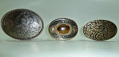 Lot of 3 County Western Belt Buckles - Floral, Stone - Silver Tone / Brass