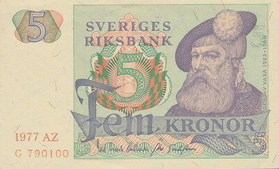 Sweden 5 Kroner Banknote 1977 Choice About Uncirculated Condition Cat#51-C-0100