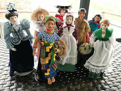 Lot of 8 Avon Dolls from Porcelain Doll Collection