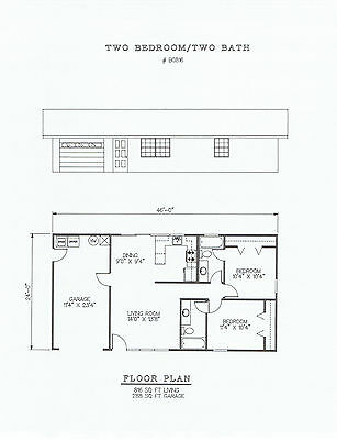 816 square foot two bedroom house plan