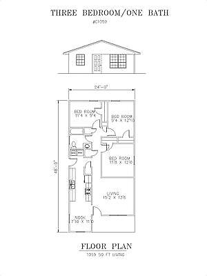 1059 square foot three bedroom house plan