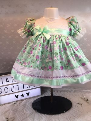 Hannahs Boutique *SALE* Baby Girls Green Floral Embroidered Lined Dress 3-6 9-12