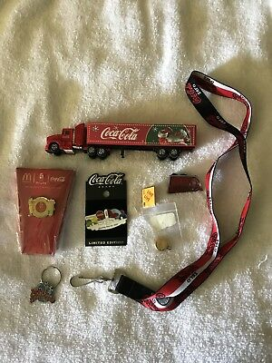 Coca Cola Pins Lanyard And Christmas Truck Set die cast truck
