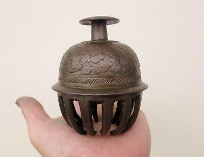 Antique Brass Bronze Indian Elephant Claw Tibetan Buddhist Temple Bell LOUD RING