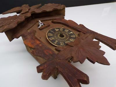 German Black Forest Cuckoo Clock Novelty Case w/ Brass Movement Parts D663