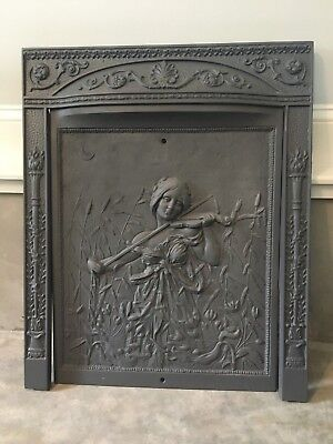 Antique Cast Iron Victorian Fireplace Cover & Frame