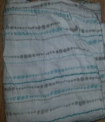 Aden Anais bamboo swaddle blanket silky soft blue azure gray beads
