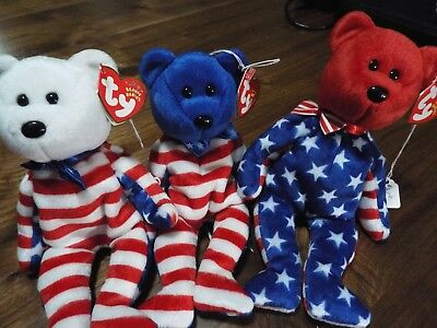 Ty Beanie Baby Babies Liberty Set Red White and Blue America July 4th Patriotic