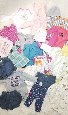 Huge mix lot baby girl clothes infant newborn to 3m outfits summer to fall N1