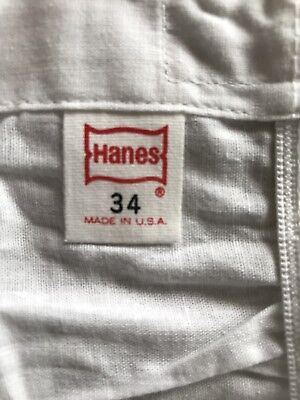 Vintage Hanes Boxer Shorts NOS 1960s 70s 100% Cotton Size 34 White USA