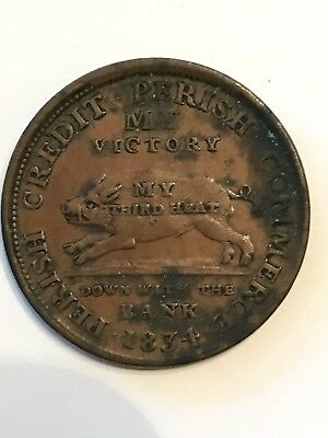 "1834 Hard Times Token Running Boar ""Down With The Bank"""