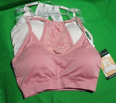 2042cb587f929 2 NEW LAURA Ashley Ls5849 Pk wh Lace Removable Pads Comfort Bras ...