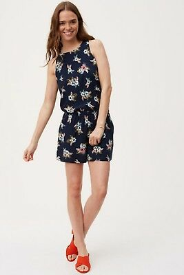 f117363482b NWT Ann Taylor LOFT Forever Navy Summer Floral Ruffle Back Romper Size S