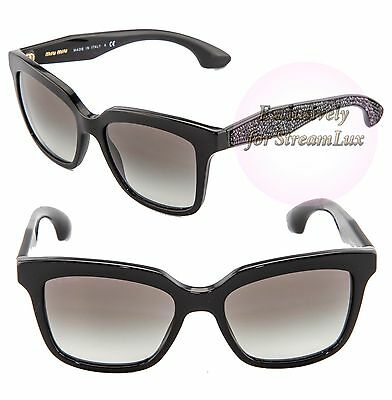 eff26f8901e2 MIU MIU CRYSTAL ROCK Square Sunglasses SMU 09P Black Crystal Glitz MU09PS