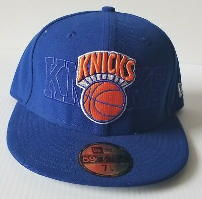 timeless design 896b3 fa9c2 New Era New York Knicks Blue 59Fifty Flat Bill 5950 Fitted Cap NBA Hat 7 1