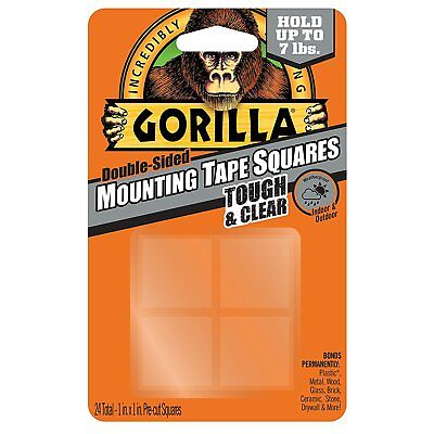 "Gorilla Glue 6067201 Mounting Tape squares, 1"" Pre-Cut, Clear (24 squares)"