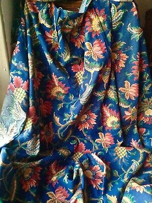 "Vintage French Fabric Blue Red Jacobean Style Curtain Panel 70""x62"" Home Decor"