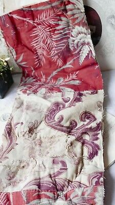 Antique Quilt Piece Lilac & Crimson Floral Fabric French Home Decor - Projects