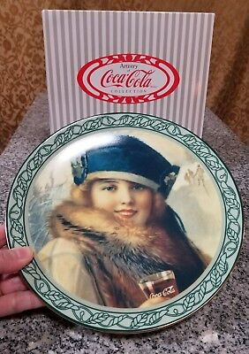"Vintage 1989 Coca Cola Retro Style 1922 The Skater Ceramic 8""Collectible Plate!"
