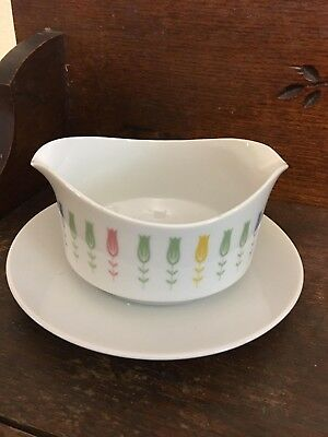 Harmony House Coquette Fine China Japan 3912 Gravy Boat with Underplate Tulips