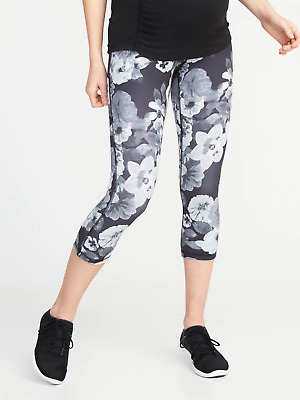 Old Navy High Rise Compression Crop-Neutral Floral-M-NWT