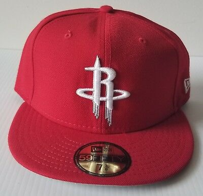 sale retailer faf6e cc1f5 New Era Houston Rockets Solid Red 59Fifty Flat Bill 5950 Fitted Cap NBA Hat