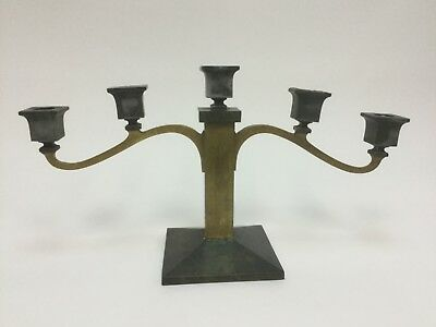 Arts & Crafts Period B&H Bradley Hubbard Copper Brass Candle Holders Candelabra